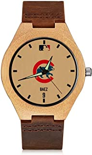 '47 Javier Baez Chicago Cubs Vintage Watch Natural Wooden Watches,Handmade Casual Wrist Watch Leather Wood Watch for Men & Women & Youth Kids
