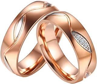 Stainless Steel Micro CZ Pave Couples Promise Wedding Bands Ring for Men Women Black/Gold/Rose