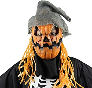 Holibanna Halloween Pumpkin Head Scarecrow Mask with Hat Creepy Costume Props for Novelty Theme Party Latex