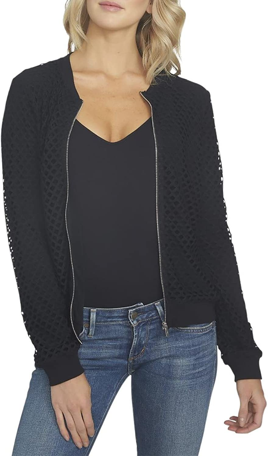 1.STATE Womens Perforated Long Sleeves Bomber Jacket