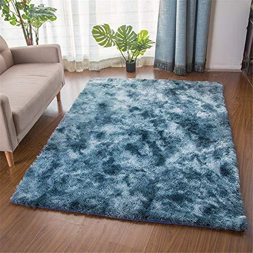 TROYSINC - Tappeto a pelo lungo, soffice, a pelo lungo, lavabile per soggiorno, camera da letto, Blu, 80 x 160 cm