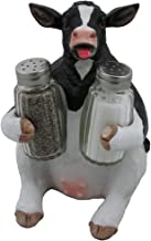 Holstein Cow Glass Salt and Pepper Shaker Set with Holder Figurine in Tabletop Country Kitchen Decor or Decorative Farm Animal Collectible Sculptures As Spice Racks and Rustic Gifts for Farmers