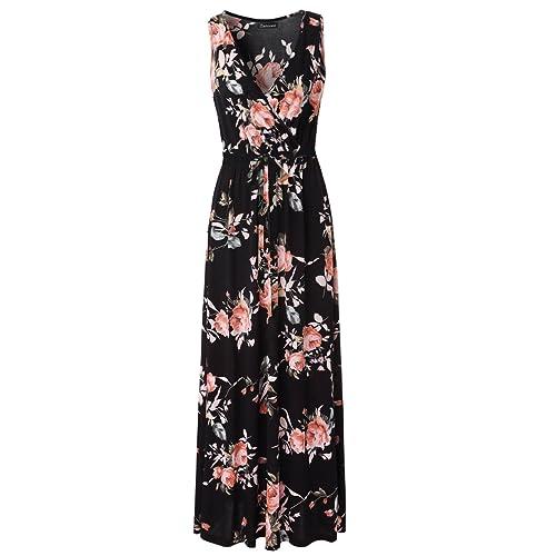 4961defbb55 Zattcas Womens Casual V Neck Sleeveless Empire Waist Vintage Floral Maxi  Dress