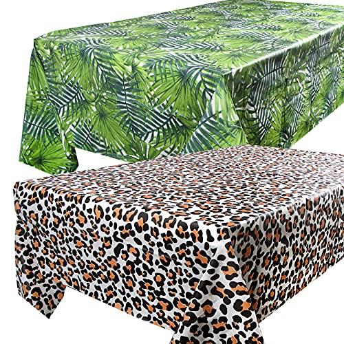 2pcs Manteles Mesa Plásticos 137x274cm Impermeable Antimanchas Rectangular Hojas y Estampado Leopardo para Banquetes Fiestas Navidad Bodas Bautizo Picnics Bufé Cumpleaños Barbacoas