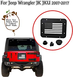 MFC Spare Tire Delete Plate Tailgate Vent-Plate Cover & Tailgate Body Plugs for Jeep Wrangler JK JKU 2007-2017 (USA Flag)