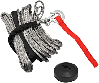 1//4 X 50 ft Synthetic Winch Rope Kit with Snap Hook and Rubber Stopper for SUV ATV UTV Vehicle Car Winch Motorcycle Truck Boat Trailer Off Road Gray