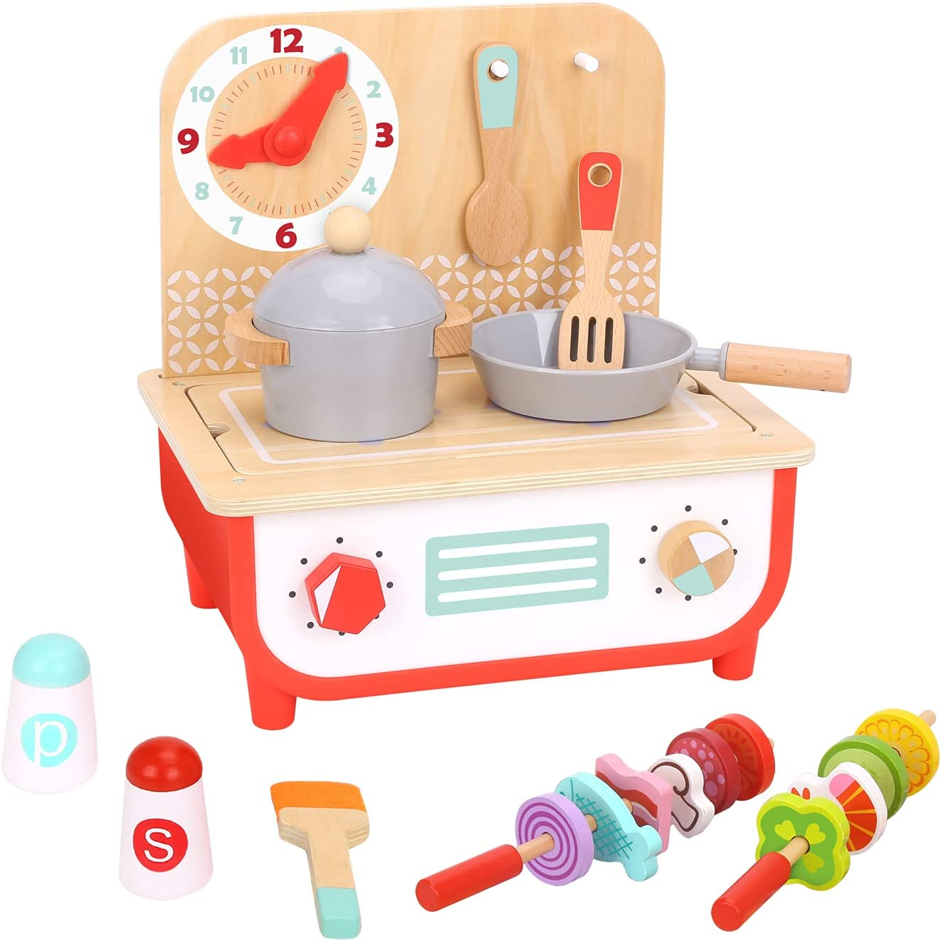 TOOKYLAND Kids Kitchen Playset Pretend Barbecue Grill Toy, Multifunction Wooden Play Kitchen for Toddlers, Kids Play Food Set with Food Molds for Boys and Girls Age 3+