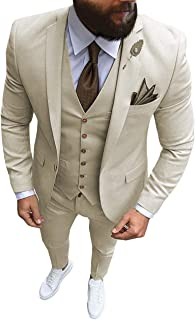 Formal Men's Suit Regular Fit 3 Piece Solid Prom Tuxedos Business Suits Set for Wedding Grooms (Blazer+Vest+Pants)