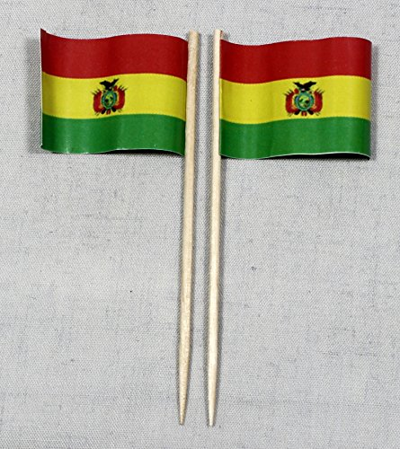 Buddel-Bini Party-Picker Flagge Bolivien Papierfähnchen in Profiqualität 50 Stück 8 cm Offsetdruck Riesenauswahl aus eigener Herstellung