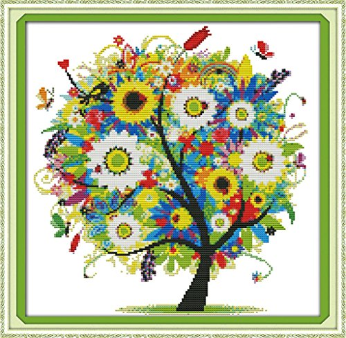 eGoodn Stamped Cross Stitch Embroidery Kits Printed Pattern - Happy Tree 11ct Fabric 18.1 inches by 18.1 inches, Cross-Stitching DIY Needlework, No Frame