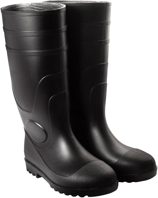 Bravepanda Adult Men's Antiskid Rubber Sole Waterproof Work shoes Rain Boots, Black