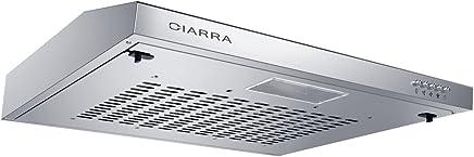 CIARRA Campana Extractora Decorativa 60cm 220 m³/h 100W Capacidad de extracción 3 velocidades Luz LED Evacuación al Exterior y De recirculación Acero Inoxidable Plata