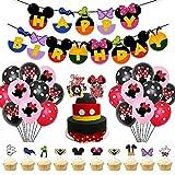 AngYou Minnie Mickey Cumpleaños Letra Papel Banner Mickey Mouse y Donald Duck Bandera de la Bandera de la Bandera de la Bandera del Globo (Style : 2)