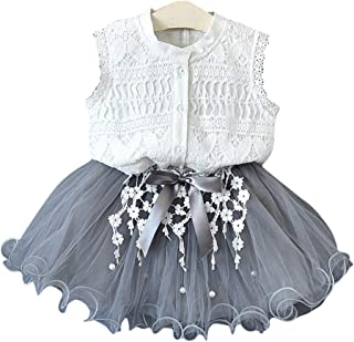 DDS Hopscotch Girls Cotton Top and Skirt Set in Gray Color