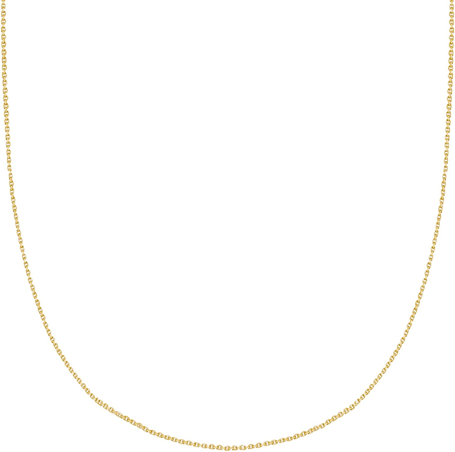 Ritastephens 14k Solid Seattle Mall Gold Cable Link Chain Mm 0.9 13 Necklace Max 83% OFF