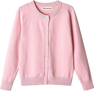 SMILING PINKER Girl School Uniform Sweater Anti-Pill Cotton Cardigan Crew Neck