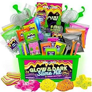 Original Stationery Slime para Niños Fabrica de Slime Neon Tropical Glitter Glow in The Dark Slime Kit Prepara Crunchy Slime, Floam, Jelly Cube y Rainbow Slime, Gran Regalo para Niñas