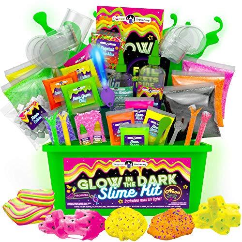 Original Stationery Slime para Niños Fabrica de Slime Neon Tropical Glitter Glow in The...