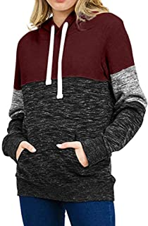 Women's Pullover Hoodie Loose Casual Pullover Long Sleeve Patchwork Top Drawstring Pocket Sweatshirt Plus Size
