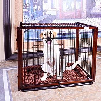 Chenils Cages Cage for Chien De Cage en Fer Forgé en Bois Massif Grande Clôture for Chien Clôture Extérieure avec Plateau Cages (Color : Brown, Size : 60.4 * 55.7 * 65.6cm)