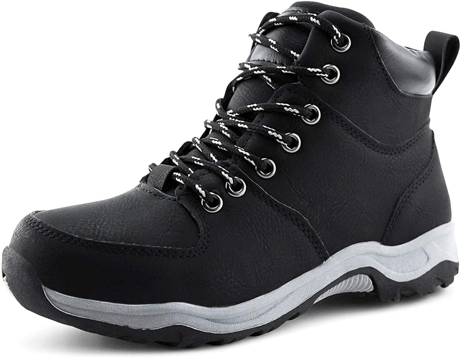JABASIC Kids Ankle Snow Work Boots Boys Girls Outdoor Lace-up Hiking Shoes