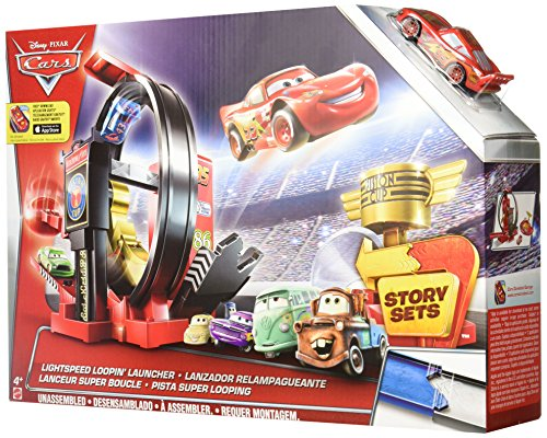 Disney Pixar Cars Coffret Piste Lanceur Super Looping, véhicule Flash McQueen inclus, jouet pour enfant, DJC57