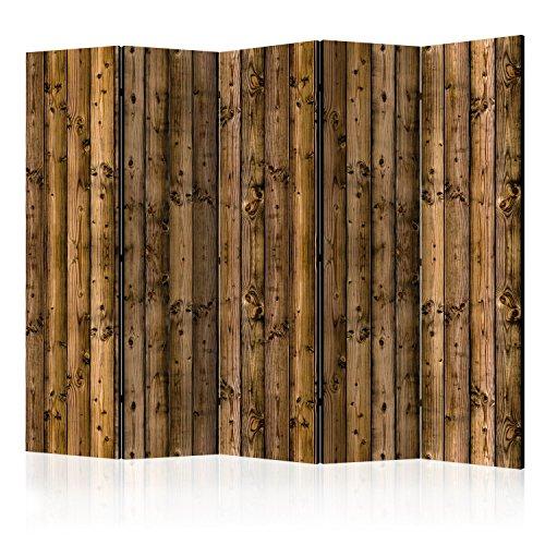 murando Raumteiler Holz-Optik Foto Paravent 225x172 cm beidseitig auf Vlies-Leinwand Bedruckt Trennwand Spanische Wand Sichtschutz Raumtrenner Home Office braun f-B-0103-z-c