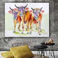 KDSMFAウォールアート装飾画リビングルームのカラフルな漫画の牛の写真子供部屋のキャンバスに印刷ポスターホームルームの装飾/ 19x24インチ(フレームなし)