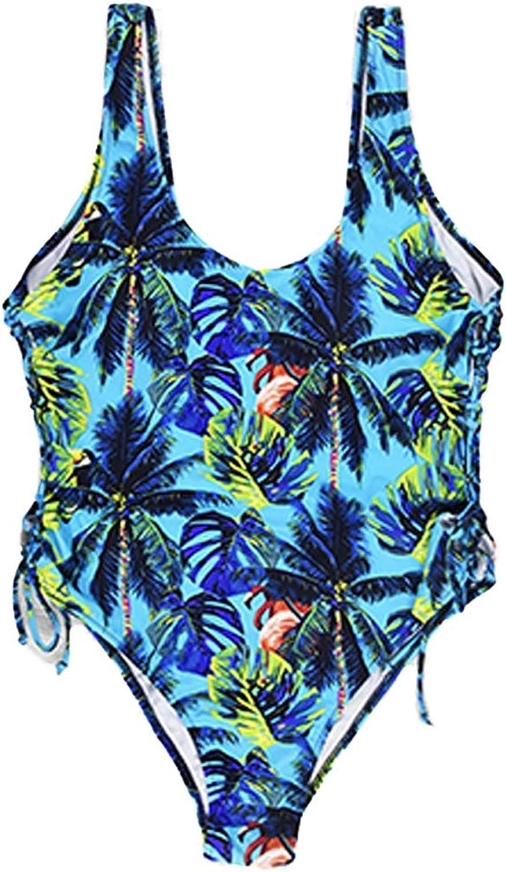 Women's Large Size Bikini, Retro Print Widened Thick Siamese High Waist Large Size Bikini Swimsuit Women