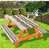 LEWIS FRANKLIN Cortina de ducha Antiguas Cubiertas de mesa de picnic, Pavimento inspirado en mosaico, mantel de borde elástico, 60,8 x 172,8 cm, juego de 3 piezas para mesa plegable