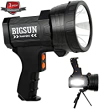 BIGSUN Q953 10000mAh Rechargeable Spotlight Flashlight with 6000 Lumen LED, Foldable Tripod and Strap, Wall and Car Charger Attachments