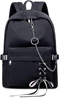 Joymoze Klassischer Rucksack für Frauen stilvoller Schulrucksack für Teenager Mädchen Schwarz mit Kette