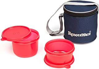 Signoraware Executive Plastic Small Lunch Box Set with Bag, 2-Pieces, Red