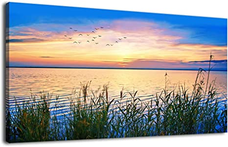 Large Canvas Wall Art For Living Room Decoration Nature Pictures Lake Sunset Landscape Canvas Prints For Bedroom Wall Decor Framed Ready To Hang 60 X 120cm Amazon Ca Home Kitchen