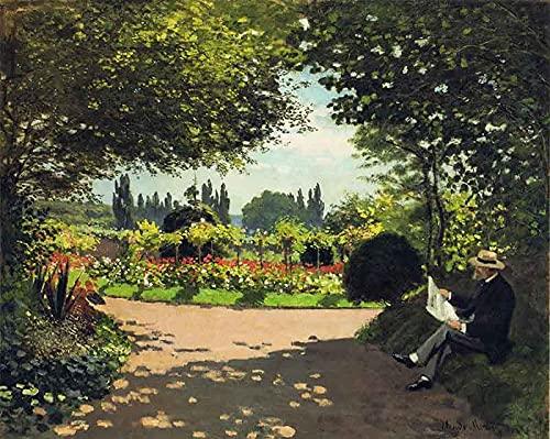 PLKIJ Puzzle Personalizzabili da 1000 pezzi Claude Monet-Monet legge in giardino-Gioco di puzzle per adulti e adolescenti Giocattoli Regalo Decorazione per la casa Giocattoli fai da te per 75x50 cm