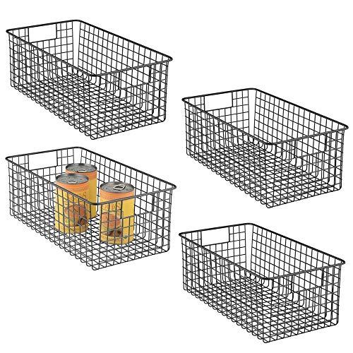 mDesign 4er-Set Allzweckkorb – tiefer Aufbewahrungskorb aus Metalldraht – kompakter Drahtkorb mit Griffen – universelle Gitterbox für Küche, Bad und andere Räume – mattschwarz