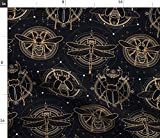 Spoonflower Fabric - Insects Black Nature Gold Fantasy Bug Insect Dragonfly Printed on Fleece Fabric by The Yard - Sewing Blankets Loungewear and No-Sew Projects