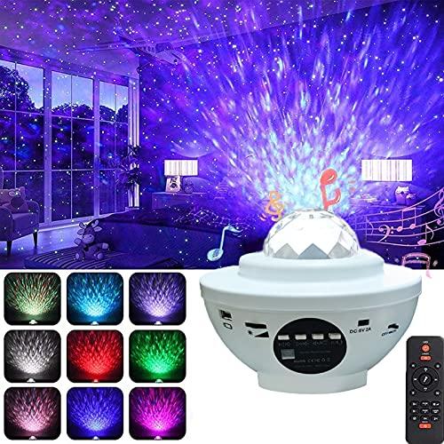 Starlight proyector luz del dormitorio del bebé océano romántico cielo estrellado proyección control remoto altavoz bluetooth USB puede reproducir 10 colores modo temporizador 4 niveles de brillo