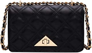 Small Crossbody Bags for Women PU Leather Shoulder Bags Quilted Shoulder Purse with Chain Strap