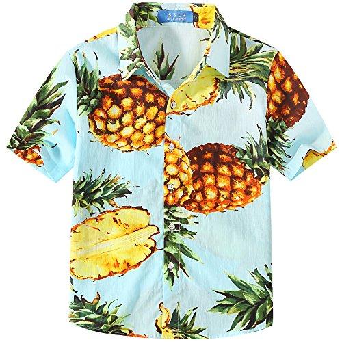 SSLR Camisa Manga Corta con Estampado de Piñas Estilo Hawaiana para Niño (Large, Azul)