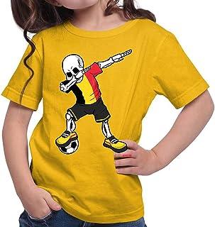 Hariz - Camiseta de fútbol para niña, diseño de esqueleto de Bélgica, incluye tarjetas de regalo