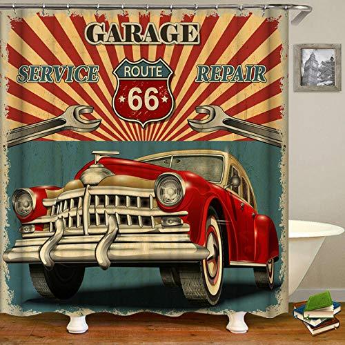 N / A Retro Beach Classic Car Duschvorhang Wasserdichter 3D Badezimmervorhang Mit Hakendekoration Polyester Stoff Badschirm-B180xH180cm