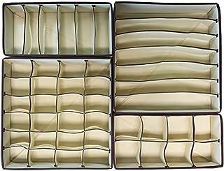 Bullidea Underwear Organizer Cloth Storage Box Drawer Closet Organizer for Underwear Bra Socks Deco, Set of 4, Beige