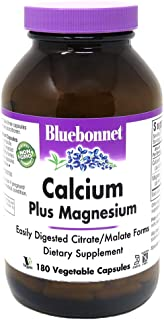 BlueBonnet Calcium Citrate Plus Magnesium Vegetarian Capsules, 180 Count