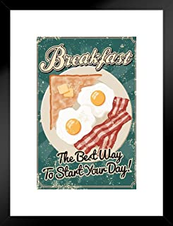 Poster Foundry Breakfast The Best Way to Start The Day Vintage Matted Framed Art Print Wall Decor 20x26 inch