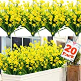 20 Bundles Artificial Flowers for Outdoor Decoration, UV Resistant Faux Outdoor Plastic Greenery Shrubs Plants Artificial Fake Flowers Hanging Planter Kitchen Home Wedding Office Garden Decor (Yellow)