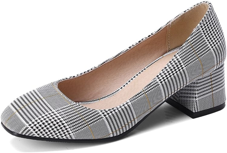 SaraIris Women's Chunky High Heel Square Toe shoes Office Daily Pumps