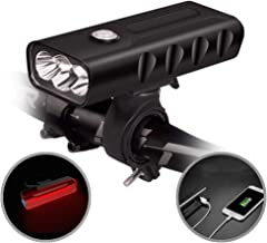 USB Rechargeable Bike Light Front and Back, 3 LED 500...