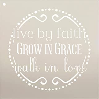 """Live by Faith - Grow in Grace - Walk in Love Stencil by StudioR12 
