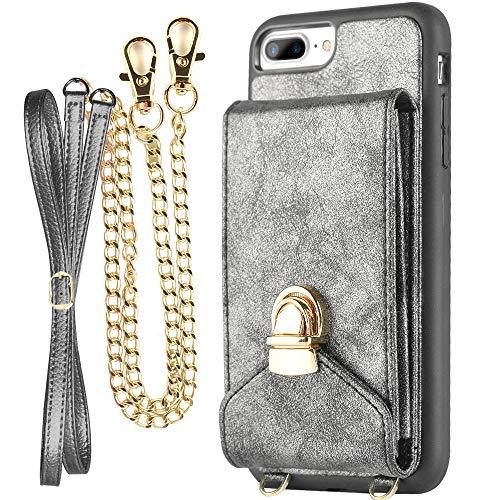 iPhone 7 Plus Wallet Case for Women, ZVEdeng iPhone 8 Plus Card Holder Case, iPhone 8 Plus Case with Wrist Strap and Crossbody Strap, iPhone 7 Plus Case for Girls, Mini Crossbody Bag - Dark Grey